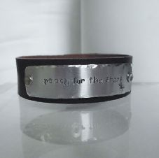 "Lovely Handmade Personalised ""reach for the stars"" Leather Statement Cuff Bangle"